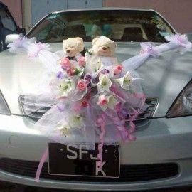 Wedding Car Flowers decoration With Wedding Bear ( Pls Call Us )