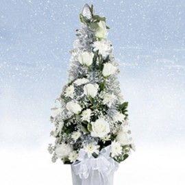 White Cone Christmas Table Flower Arrangement