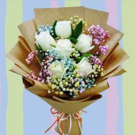 Rainbow Baby Breath & 6 White Roses Hand Bouquet