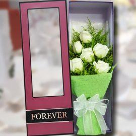 6 White Roses in Gift Box