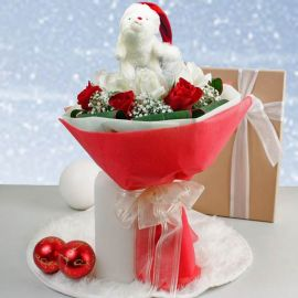 Christmas Roses with Tatty Teddy Bouquet