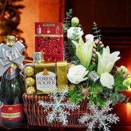 Champagne, Rochers & White Lilies Arrangement