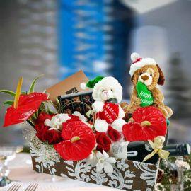 Christmas Flower and Wine Gift Basket