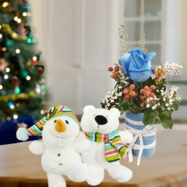 2 X'Mas Stuffed Toys With Blue Rose Standing Bouquet.