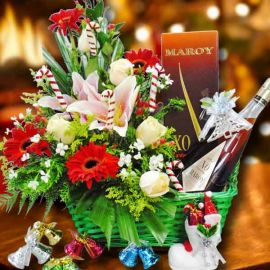 Maroy XO Extra French Brandy 70cl & Mixed Flowers Arrangement