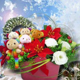 Artificial Christmas Flowers, Fresh Eustoma & Bears Arrangement